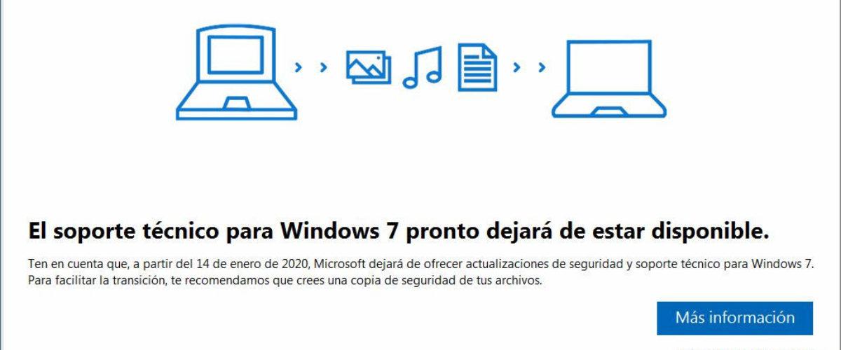 ¿Qué hacer con este aviso del fin de soporte de Windows 7?